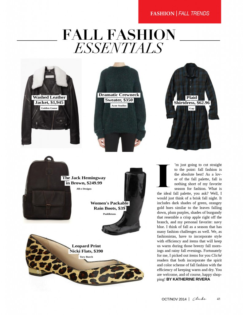 ClicheOctNov14 Fall Fashion Essentials