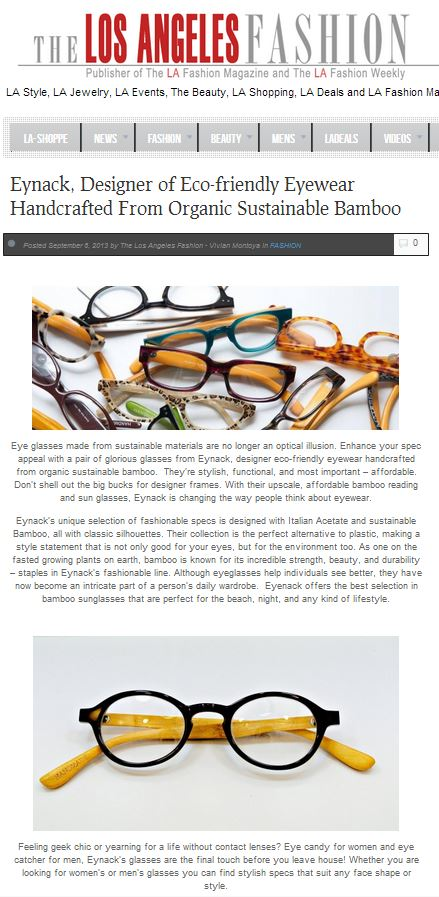 72a10c918b8 Congratulations to our Client Eynack for their feature on The Los Angeles  Fashion Blog.